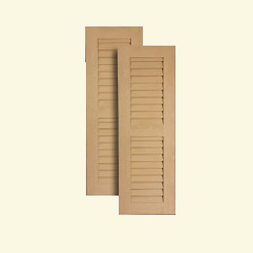 16 Inch x 60 Inch Louvered Shutters Pair Primed White