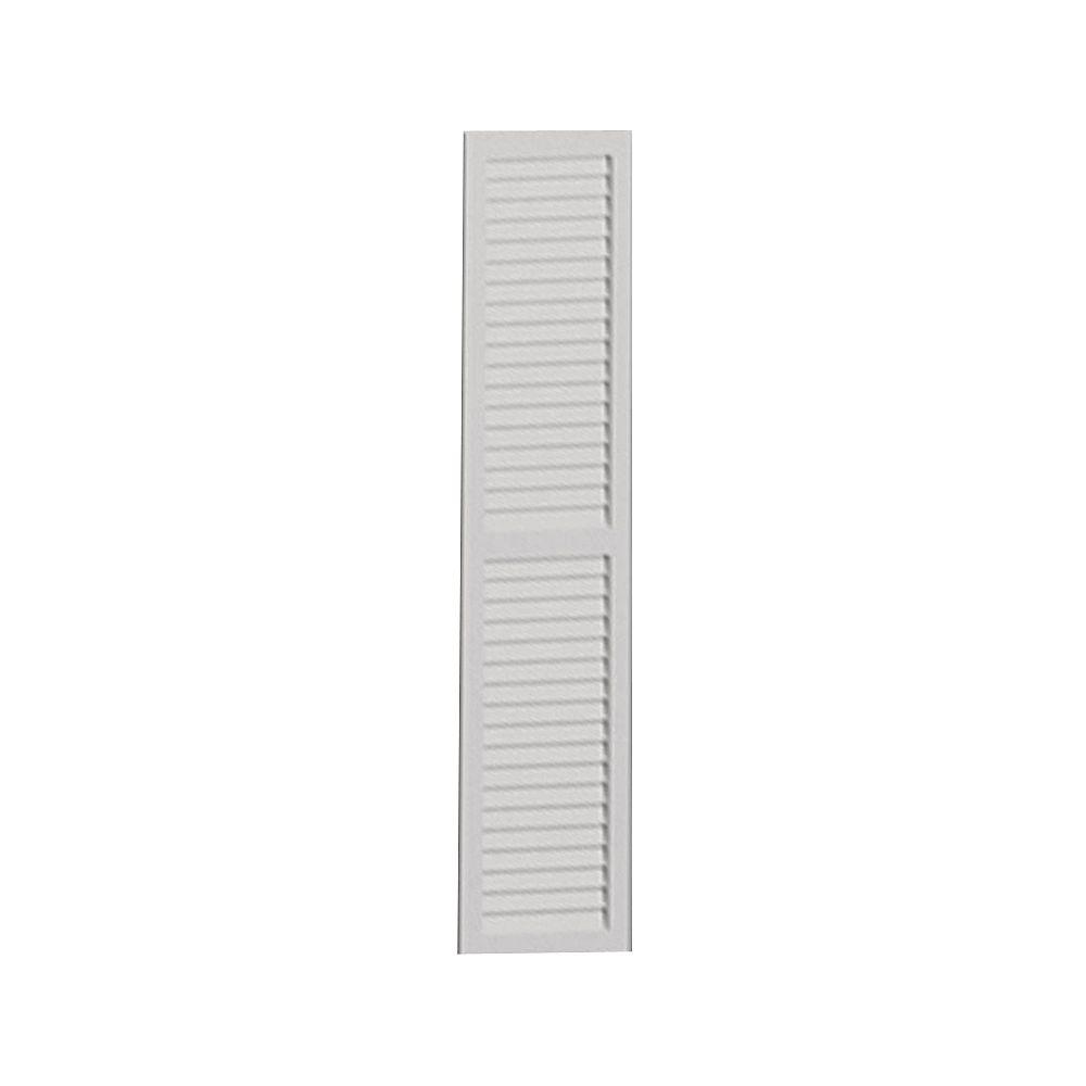 Fypon Volet lisse à persiennes à séparation centrale 72 po x 16 po x 1 po
