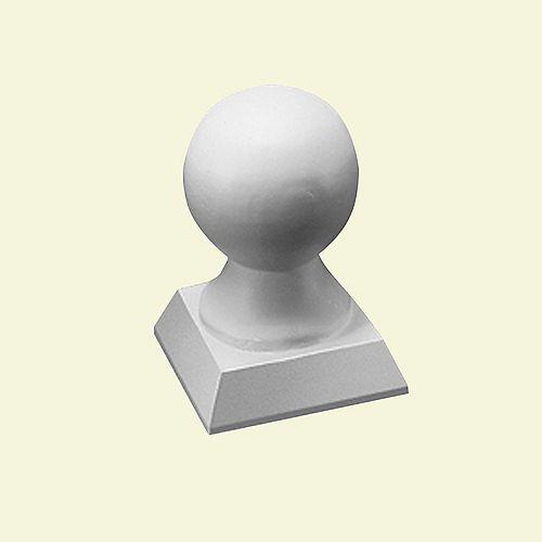 Capuchon de pilastre de style boule pour balustrade de 5 ou 7 po en polyuréthane 4-3/4 po x 3-1/2 po x 3-1/2 po