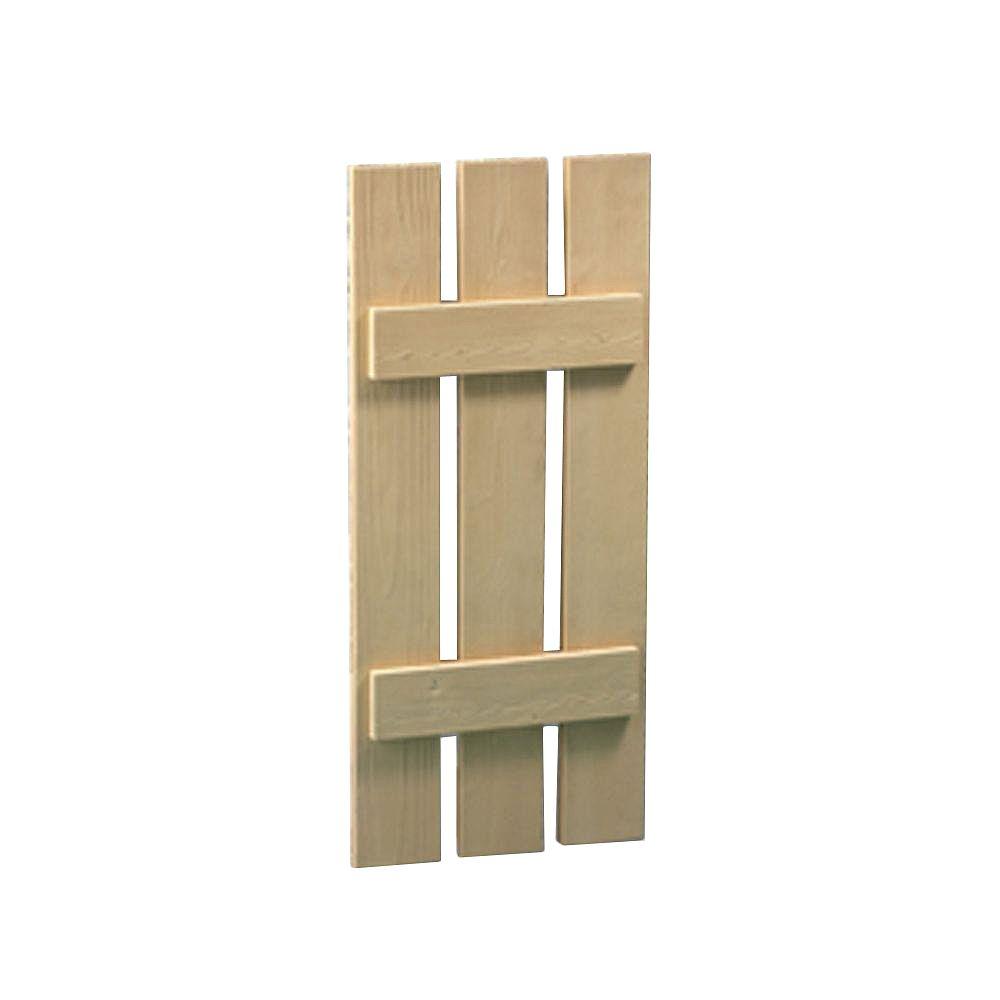 Fypon 36 Inch x 18 Inch x 1-1/2 Inch Wood Grain Texture 3-Plank Board and Batten Shutter