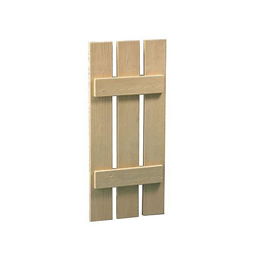 42 Inch x 20 Inch x 1-1/2 Inch Wood Grain Texture 3-Plank Board and Batten Shutter