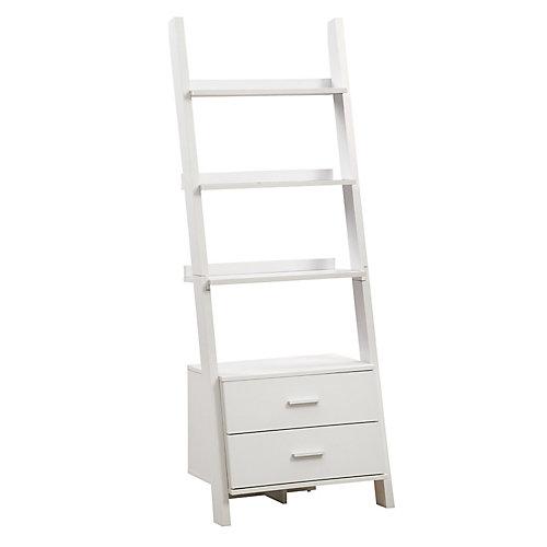 24-inch x 69-inch 4-Shelf 2-Drawer Ladder Shelf in White