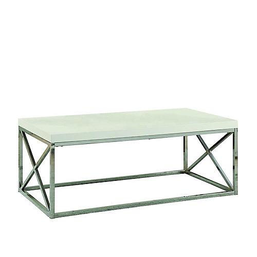 Table De Salon - Blanc Lustre Avec Metal Chrome