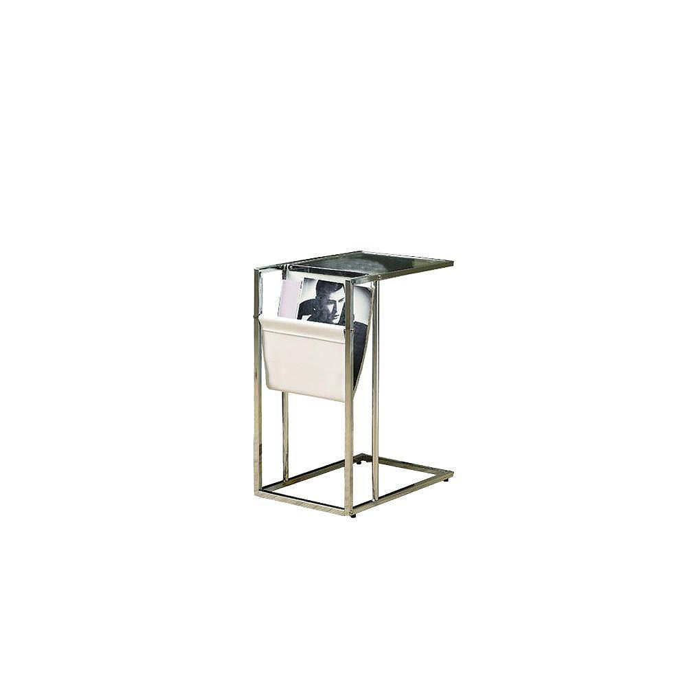 Monarch Specialties Accent Table - White / Chrome Metal With A Magazine Rack