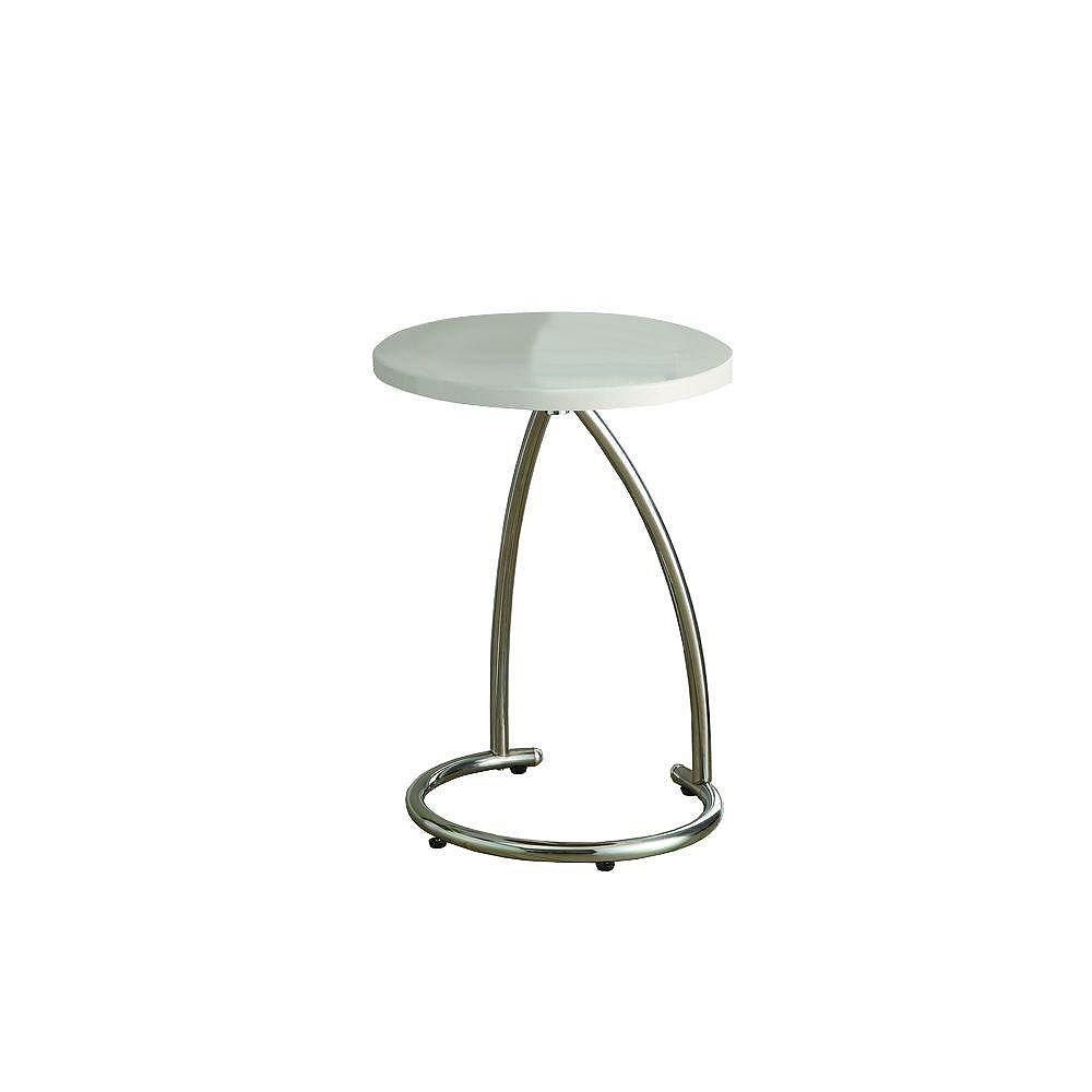 Monarch Specialties Accent Table - Glossy White With Chrome Metal