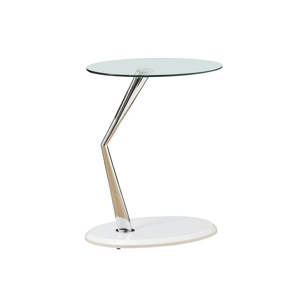 Monarch Specialties Accent Table - Glossy White / Chrome With Tempered Glass