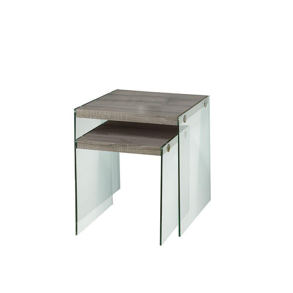 Monarch Specialties 2-Piece Nesting Table Set in Dark Taupe