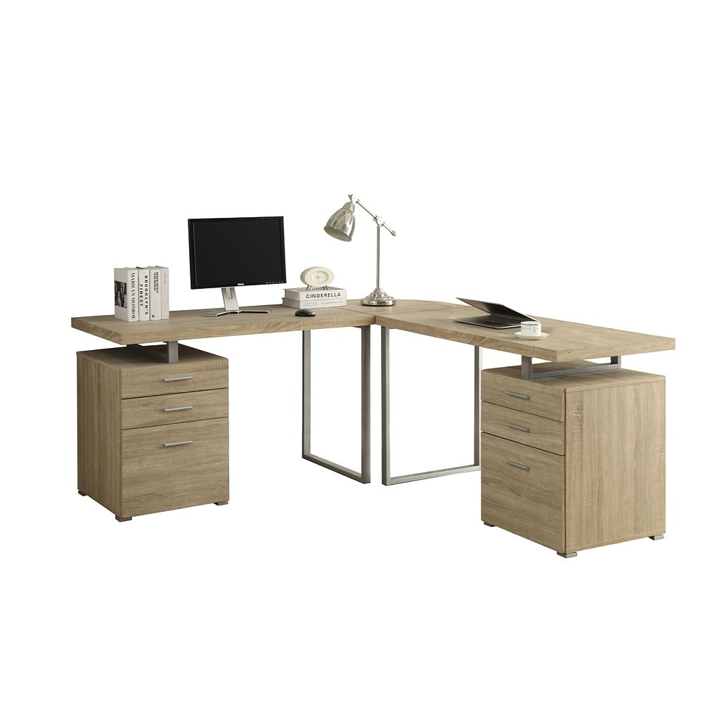 Monarch Specialties 72-inch x 30-inch x 72-inch Corner Computer Desk in Natural