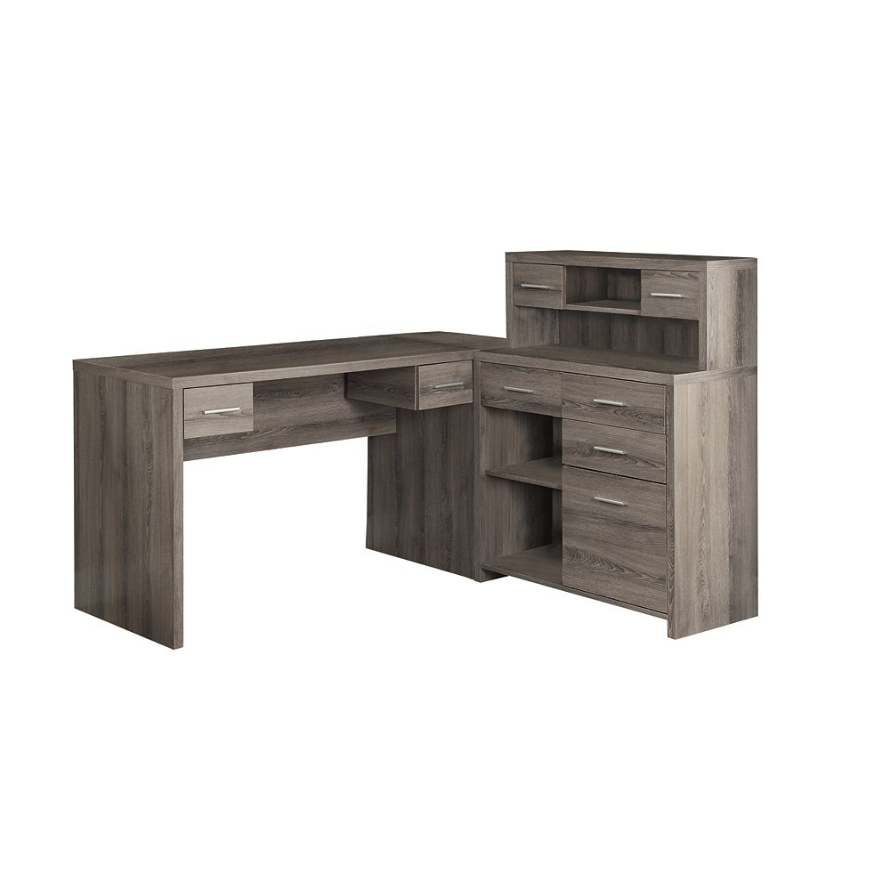 Monarch Specialties 47-inch L-Shape Corner Computer Desk with Storage in Dark Taupe