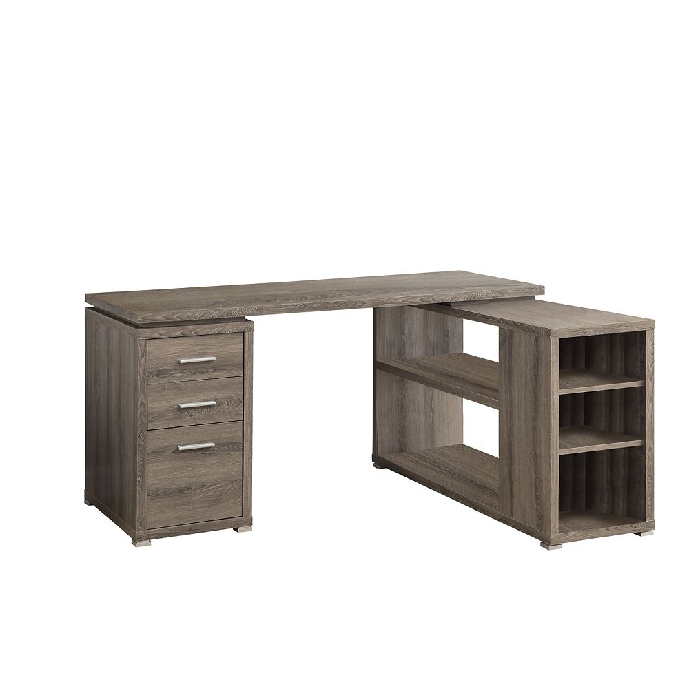 Monarch Specialties 60-inch L Adjustable L-Shaped Desk with Storage in Dark Taupe
