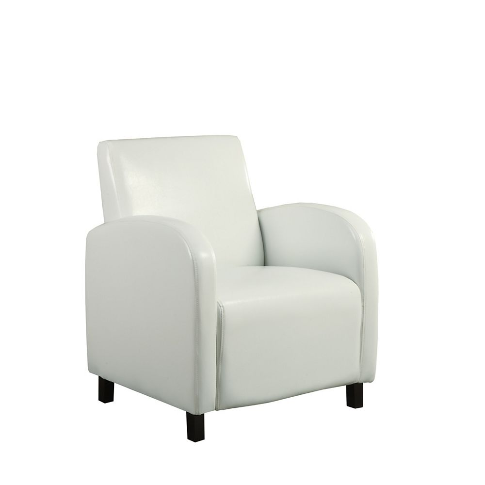 Monarch Specialties Contemporary Slipper Faux Leather Accent Chair in White with Solid Pattern