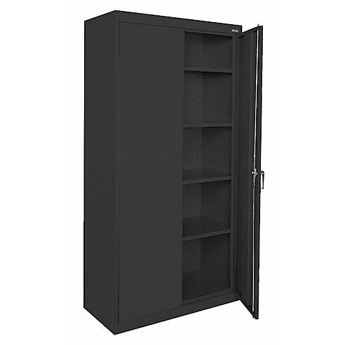36-inch W x 72-inch H x 18-inch D Storage Cabinet with Adjustable Shelves in Black