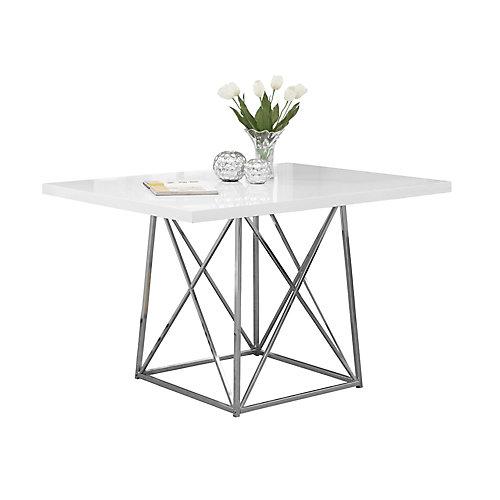 "Table A Manger - 36""X 48"" / Blanc Lustre / Metal Chrome"