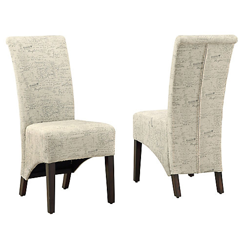 Vintage 40-inch H Parson Dining Chair Set in Vintage French Fabric (Set of 2)