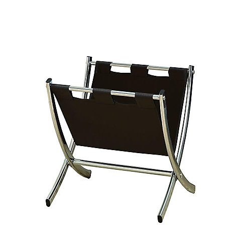 Magazine Rack - Dark Brown Leather-Look / Chrome Metal
