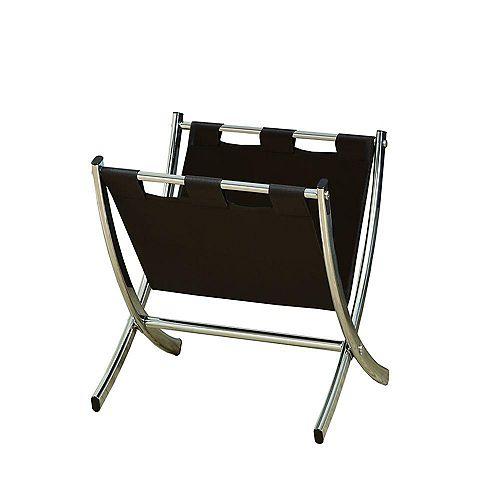 Magazine Rack - Dark Brown Leather-Look / Chrome Metal