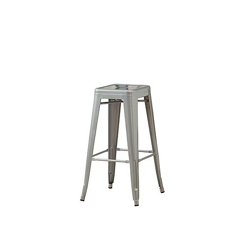 30-inch H Silver Galvanized Metal Cafe Barstool (2-Piece)