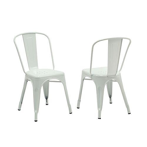 Chaise sans accoudoirs à dossier croisé, métal blanc, siège métal blanc, ens. de 2