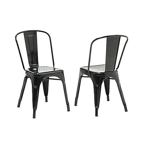 Chaise sans accoudoirs à dossier croisé, métal noir, siège métal noir, ens. de 2