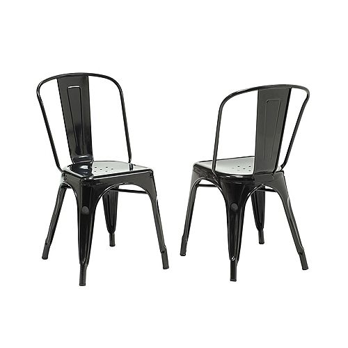 33-inch H Black Glossy Metal Dining Chair (2-Piece)
