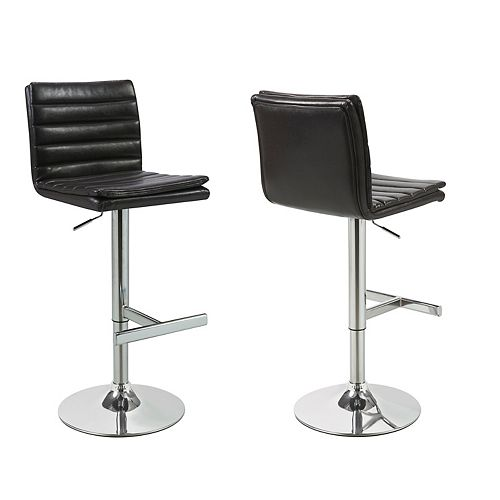 Leather Metal Chrome Contemporary Full Back Armless Bar Stool with Brown Faux Leather Seat (Set of 2)