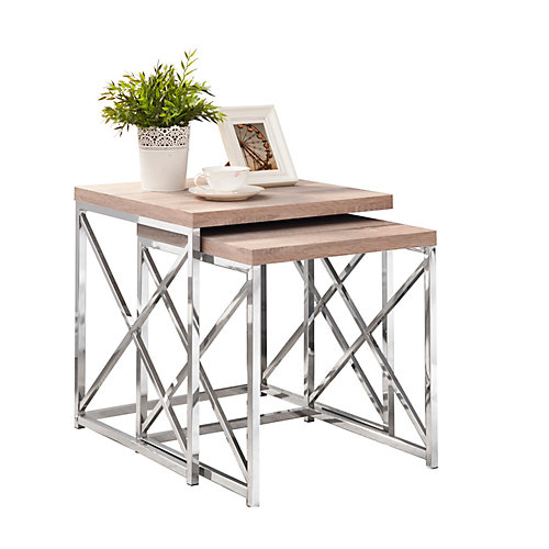 Tables Gigognes - Ens. 2Pcs / Naturel / Metal Chrome