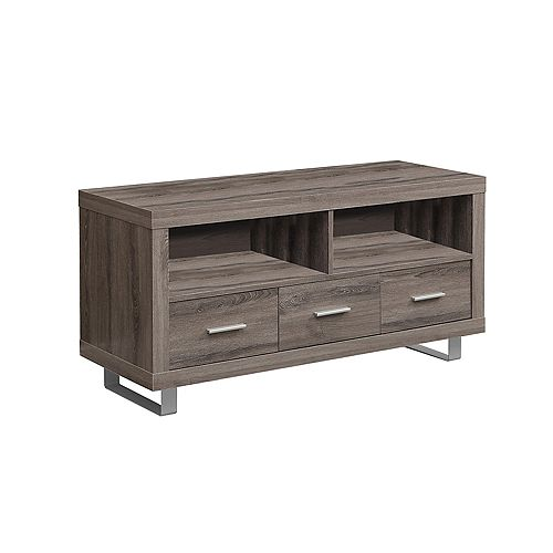 Tv Stand - 48 inch L / Dark Taupe With 3 Drawers