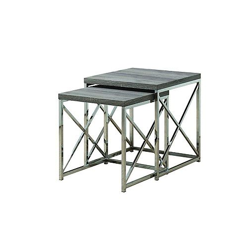 2-Piece Nesting Table Set in Chrome & Dark Taupe