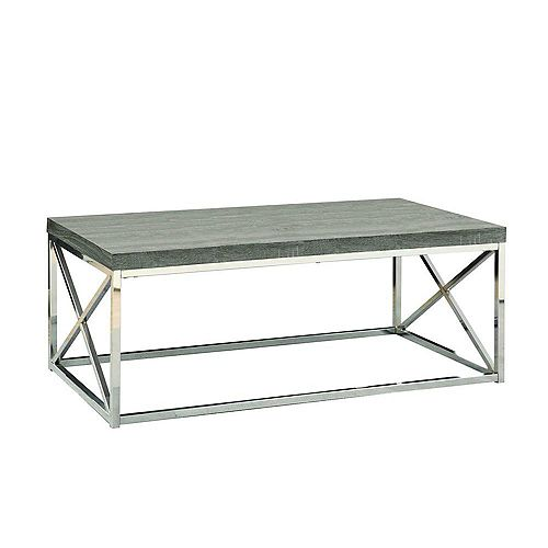 Table De Salon - Taupe Fonce Avec Metal Chrome