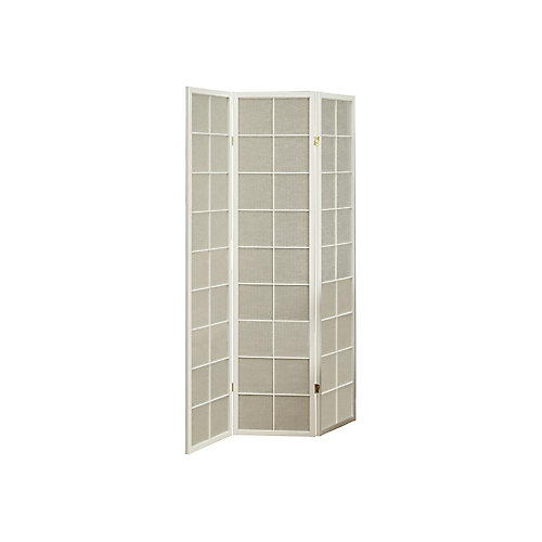 3-Panel Folding Screen Room Divider with White Frame & Fabric Inlay