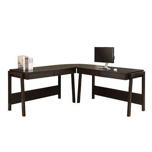 24-inch x 26-inch x 24-inch Corner Computer Desk in Brown