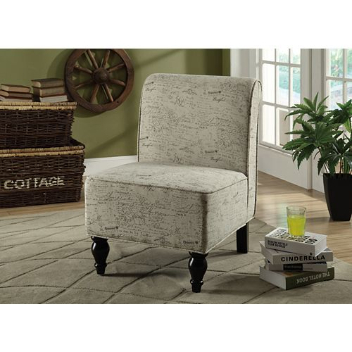 Contemporary Slipper Accent Chair in White with Collage Pattern