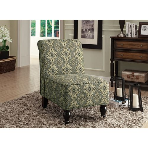 Contemporary Slipper Accent Chair in Green with Damask Pattern