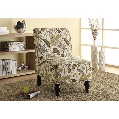 Contemporary Slipper Accent Chair in Green with Floral Pattern