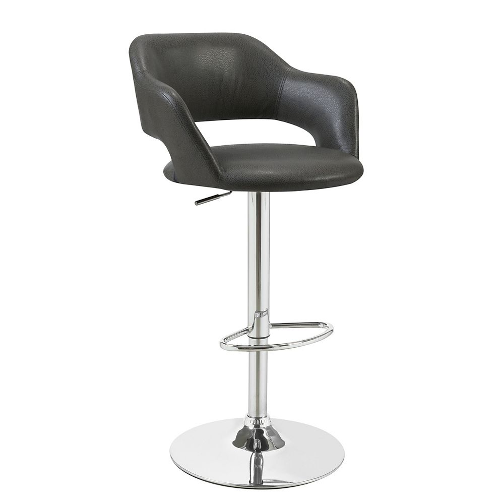 Monarch Specialties Leather Metal Chrome Contemporary Full Back Bar Stool with Grey Faux Leather Seat