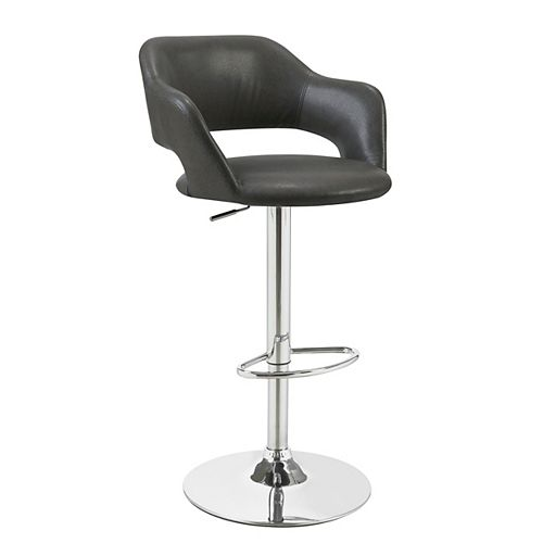Leather Metal Chrome Contemporary Full Back Bar Stool with Grey Faux Leather Seat