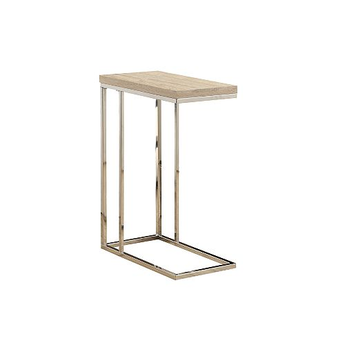 Monarch Specialties Wood-Look Accent Table in Chrome