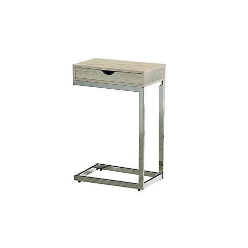 Table D'Appoint - Naturel Avec Metal Chrome