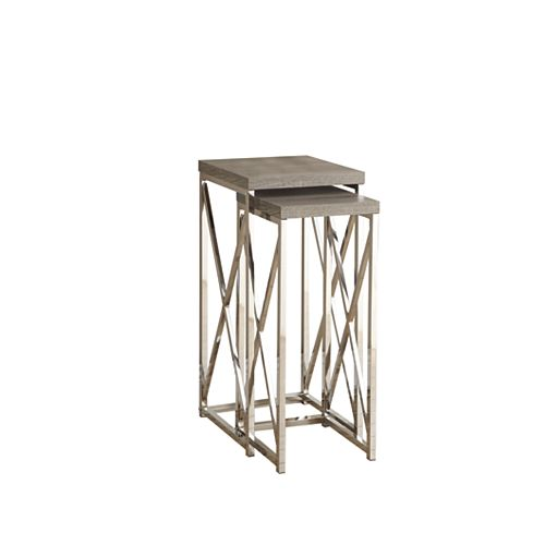 Accent Table - 2-Piece Set / Dark Taupe With Chrome Metal