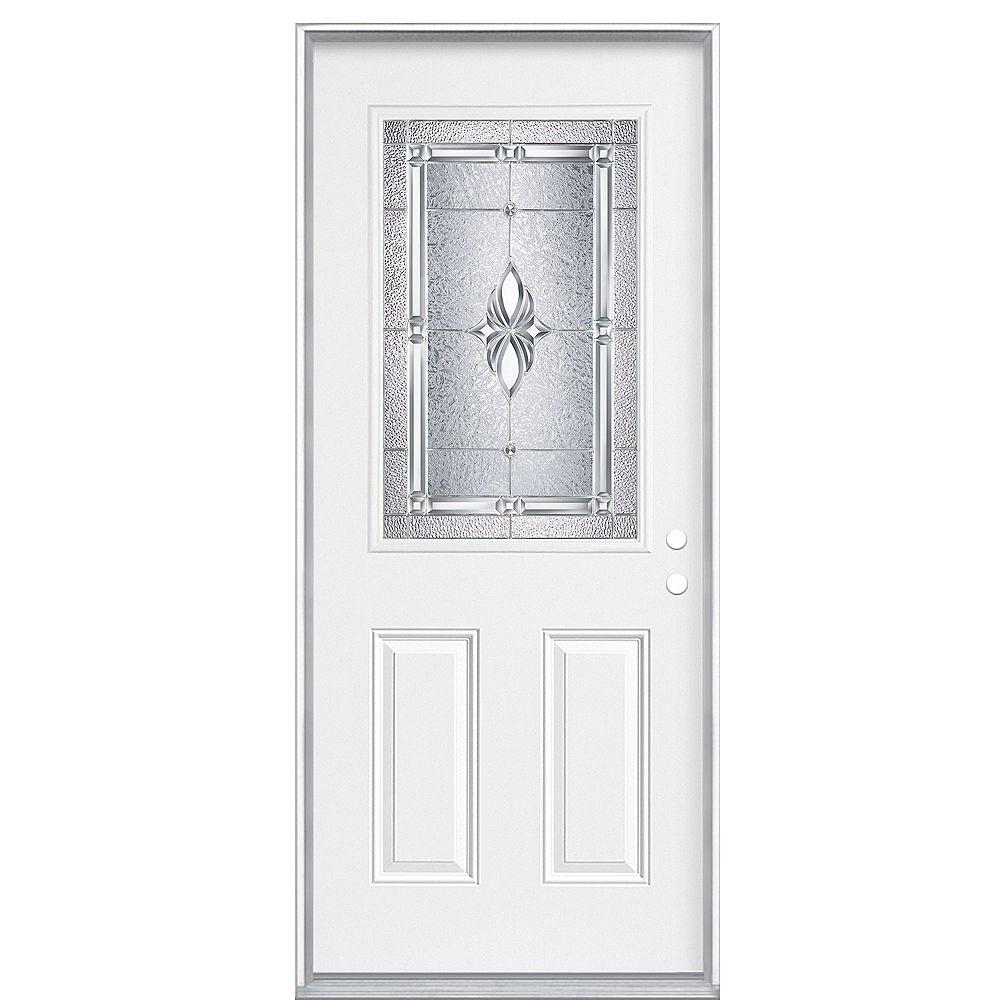 Masonite 36 Inch x 80 Inch x 4 9/16 - Porte d'entrée, Demi verre Nickel - main gauche - ENERGY STAR®