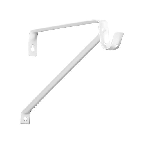 Support pour tablette et tringle ajustable, 10 po à 14 po, acier, blanc
