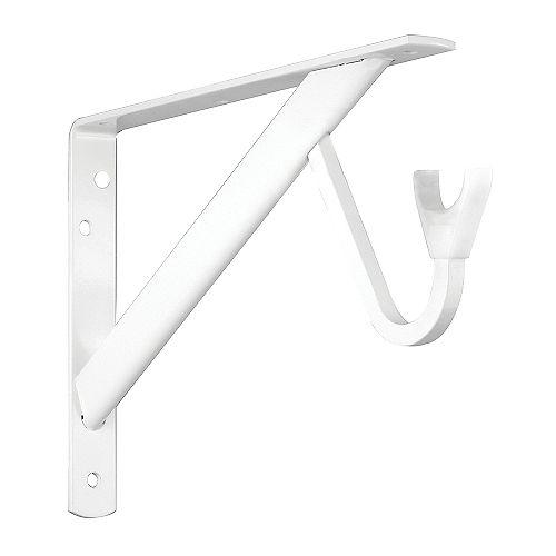 11 1/4-inch Heavy Duty Shelf and Rod Bracket in White