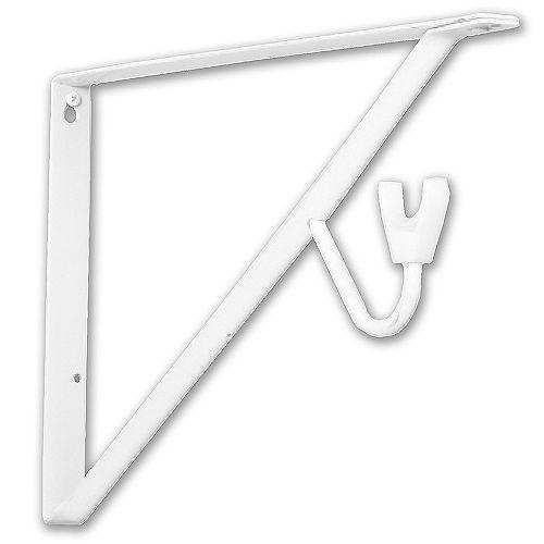 Support pour étagères et tringles, 15 po, blanc
