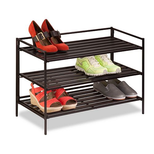 3-Tier Stackable Shoe Rack in Espresso