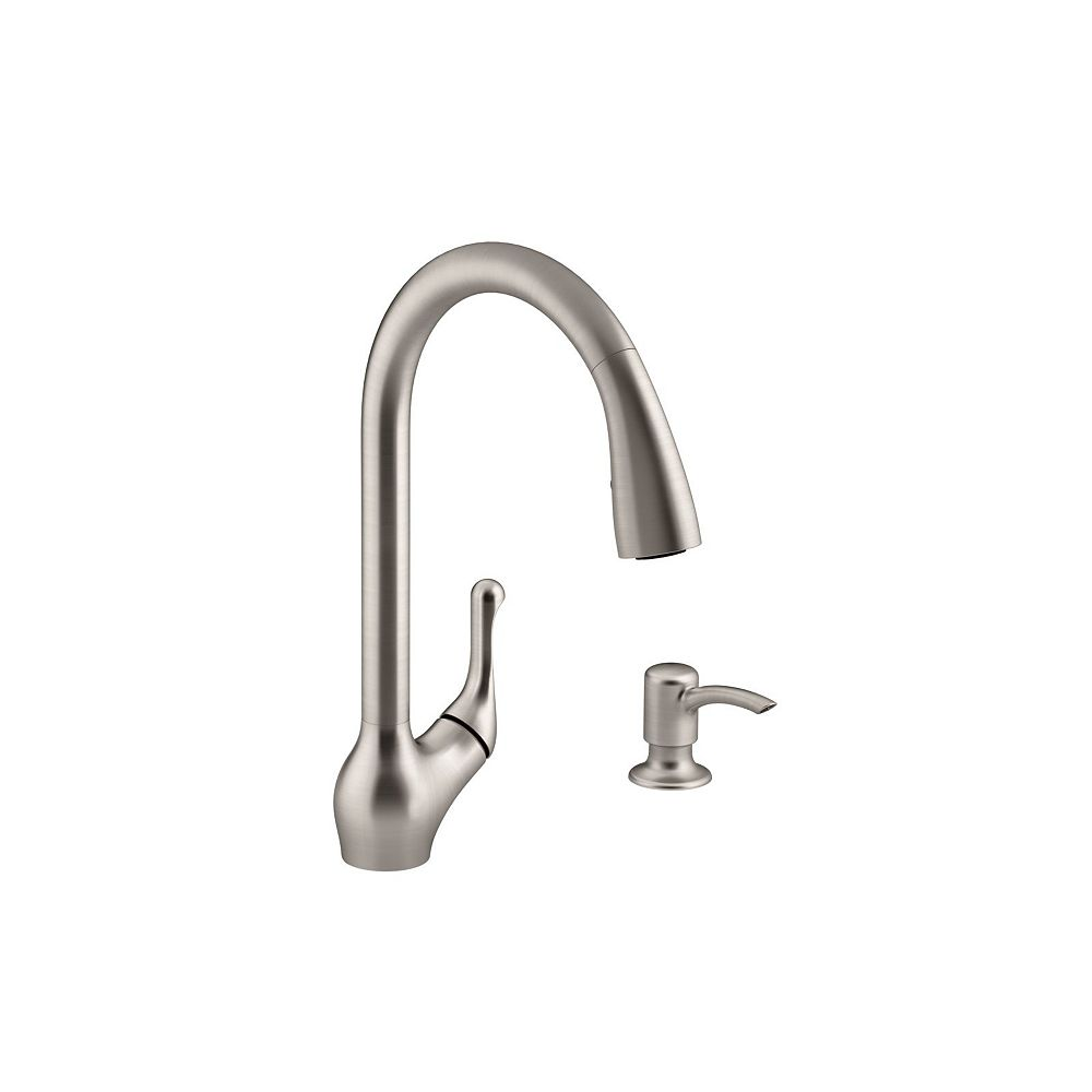 KOHLER Barossa Pull-Down Kitchen Sink Faucet with Soap/Lotion Dispenser in Brushed Nickel