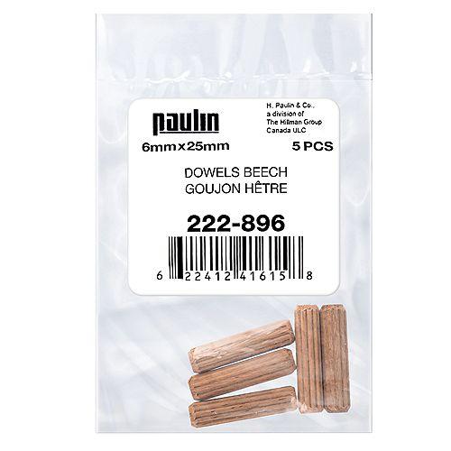 Paulin 6 mm x 25 mm Fluted Beech Wood Dowels Beige - 5 pcs