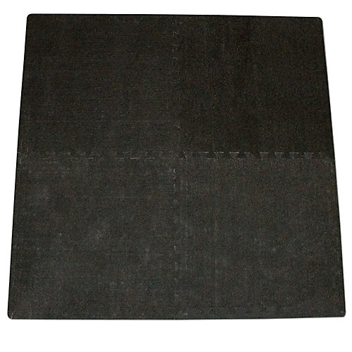 Connect-A-Rug Black Anti-fatigue Interlocking Mat - 24 Inches x 24 Inches (4-Pack)