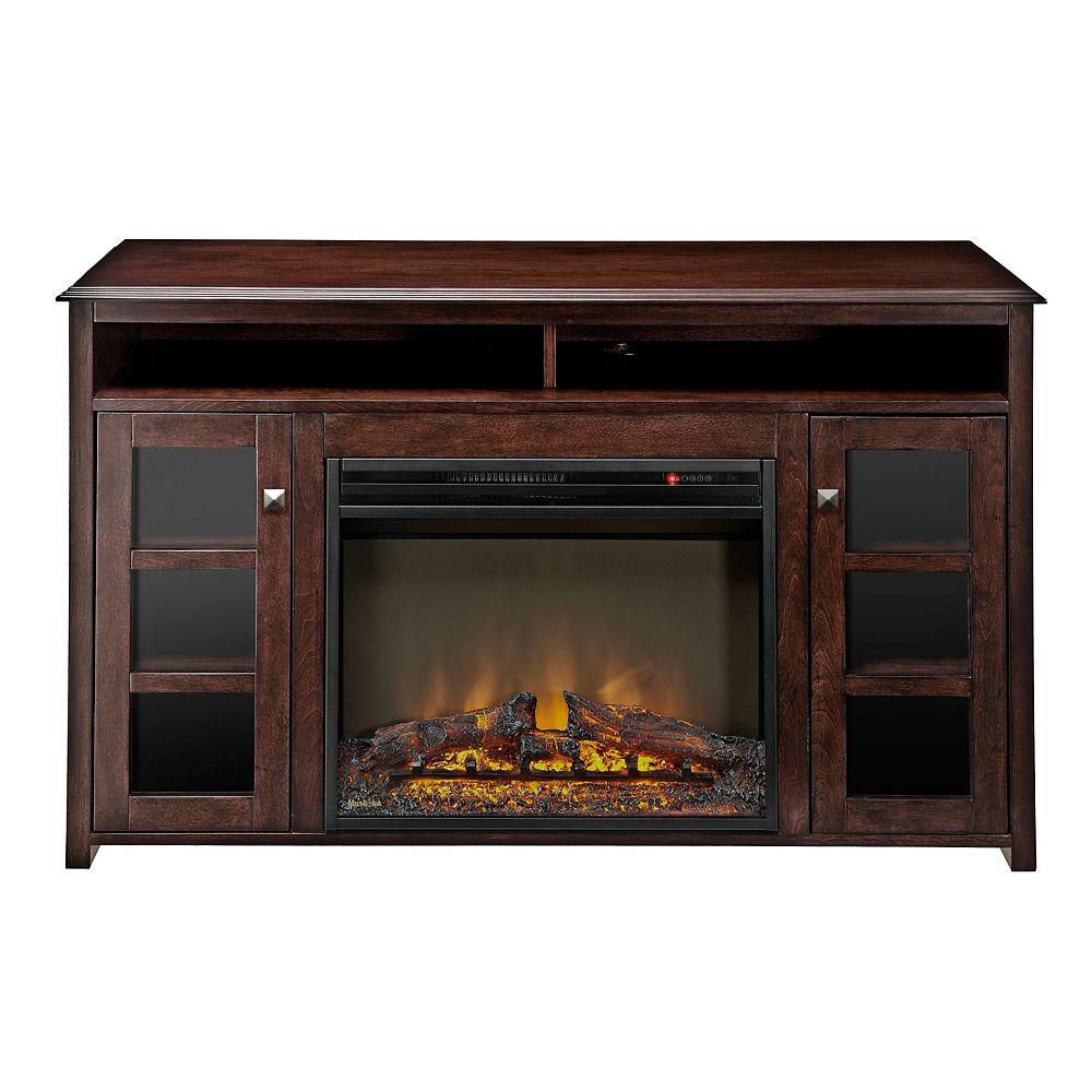 Muskoka Strachan 23-inch Full View Electric Fireplace with Glass Doors, Rich Espresso Finish