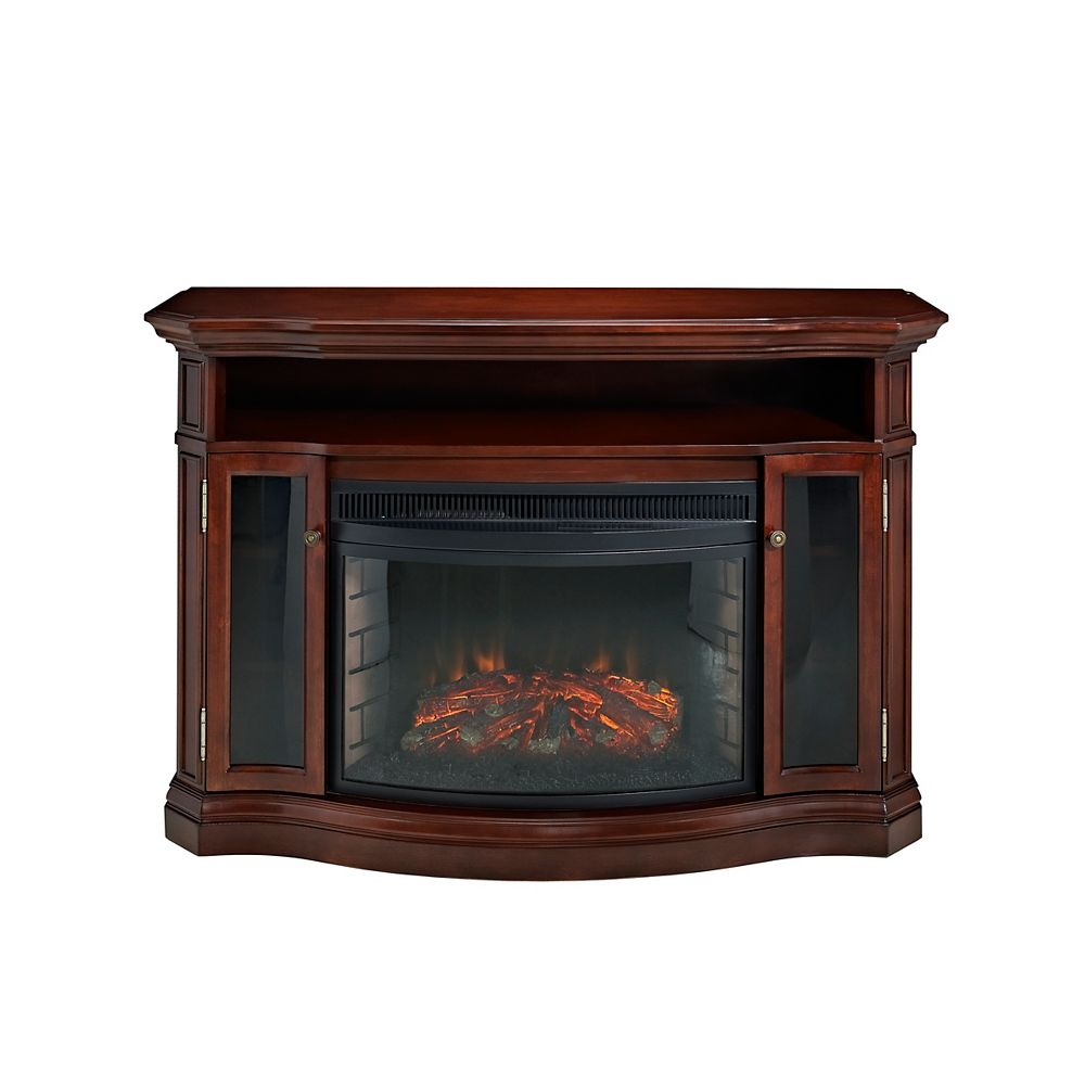 Muskoka Elliot 25-inch Curved Full View Electric Fireplace, Burnished Cherry Finish