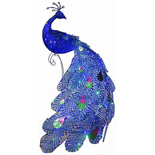 60-inch Decorative Slim Sparkle Feather Peacock